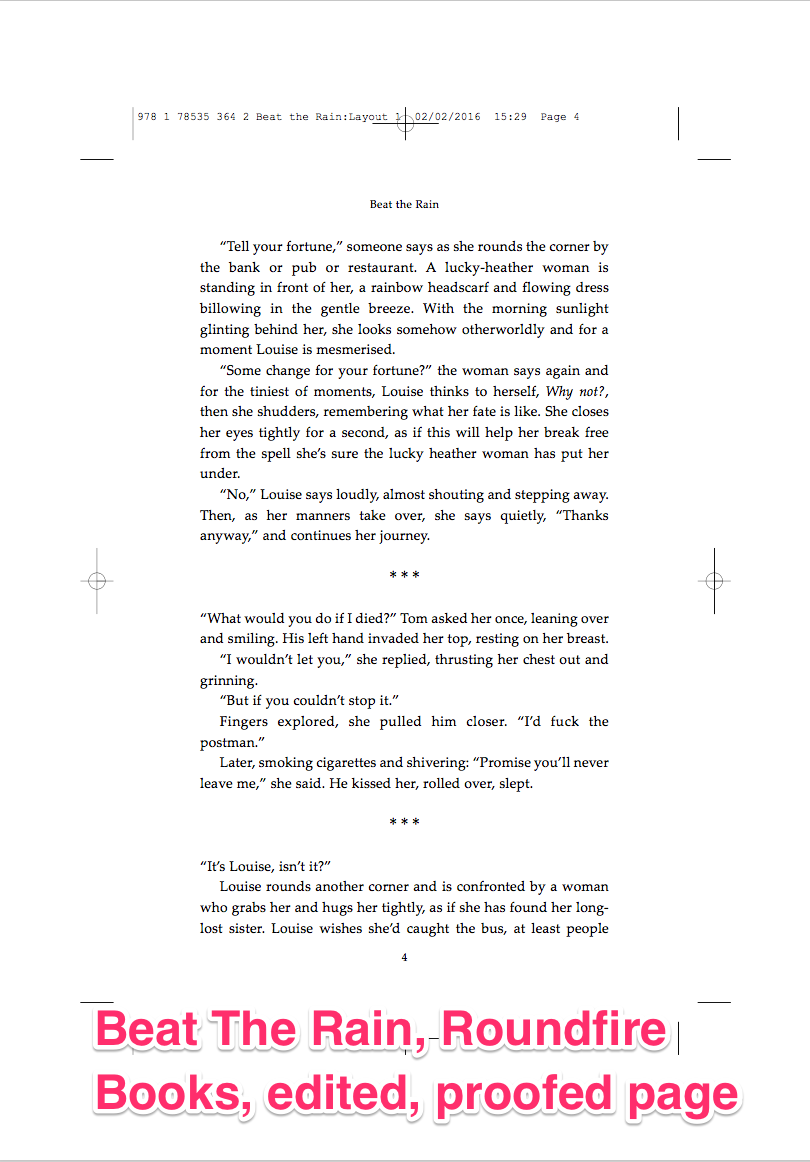 Beat The Rain, Roundfire Books, edited proofed page