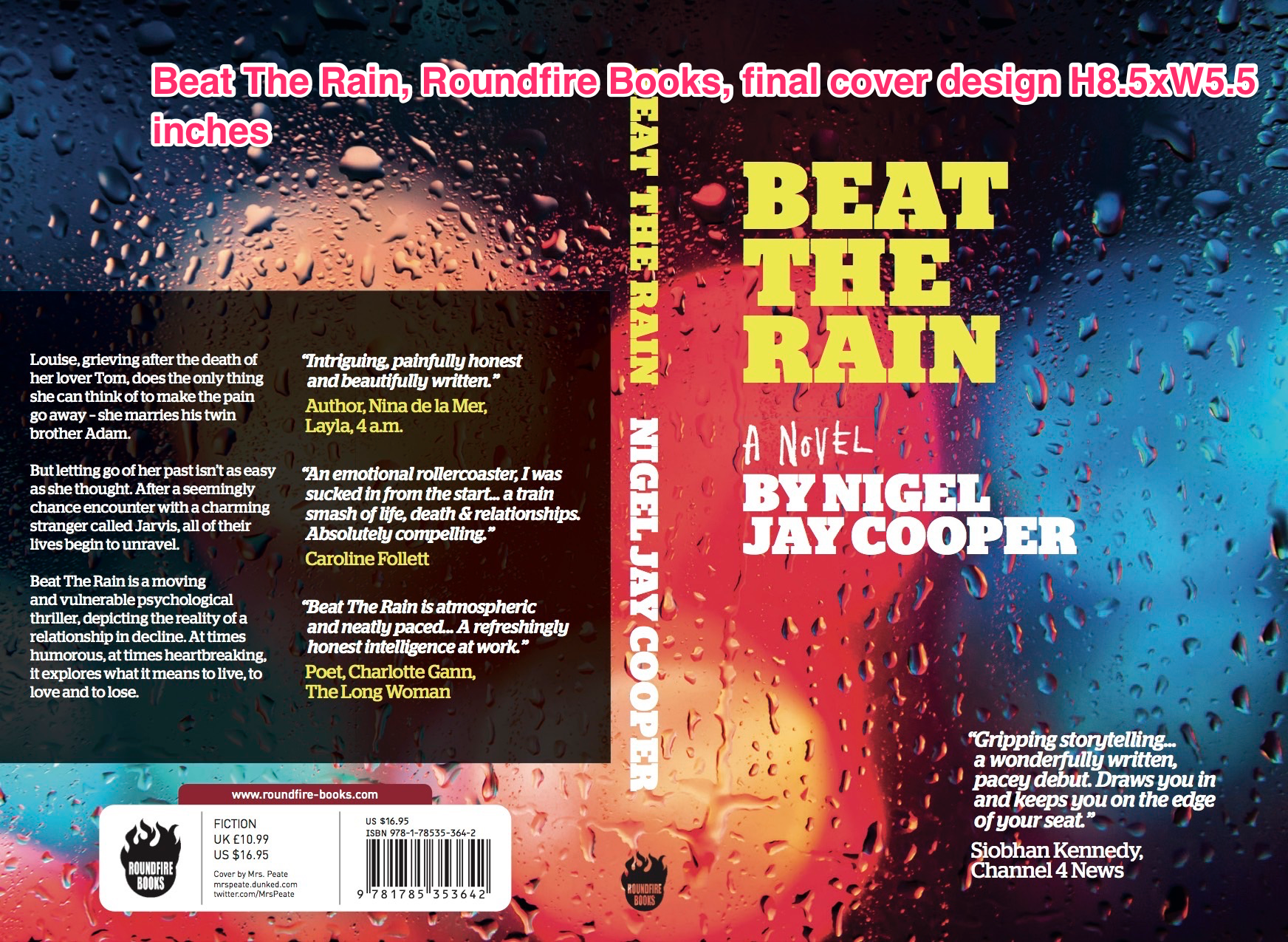 Beat The Rain, Roundfire Books, final cover design